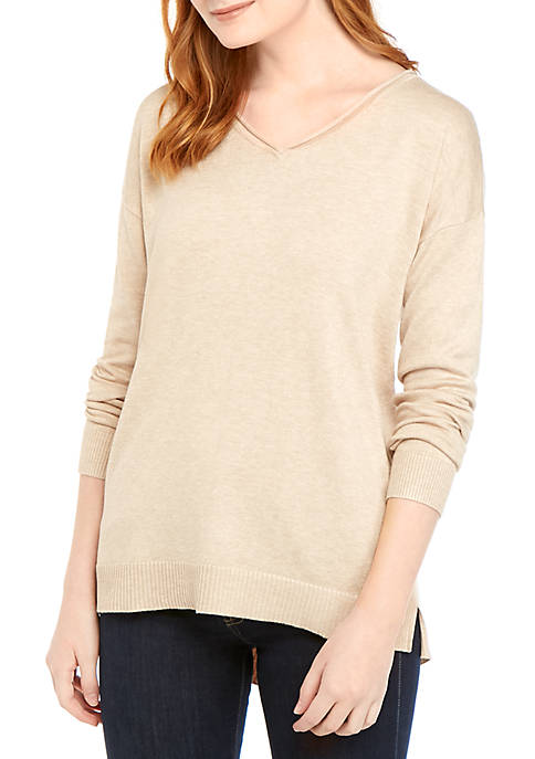 Long Sleeve V Neck Heather Sweater