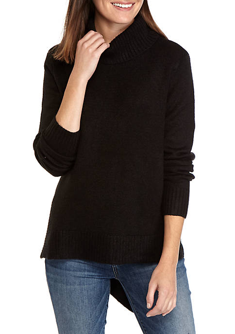 New Directions® Womens Asymmetrical Mock Neck Solid Sweater