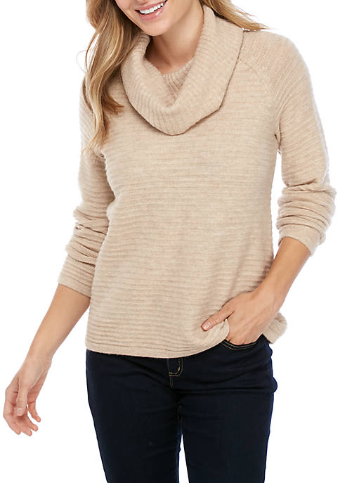 Womens Soft Textured Cowl Neck Heathered Sweater