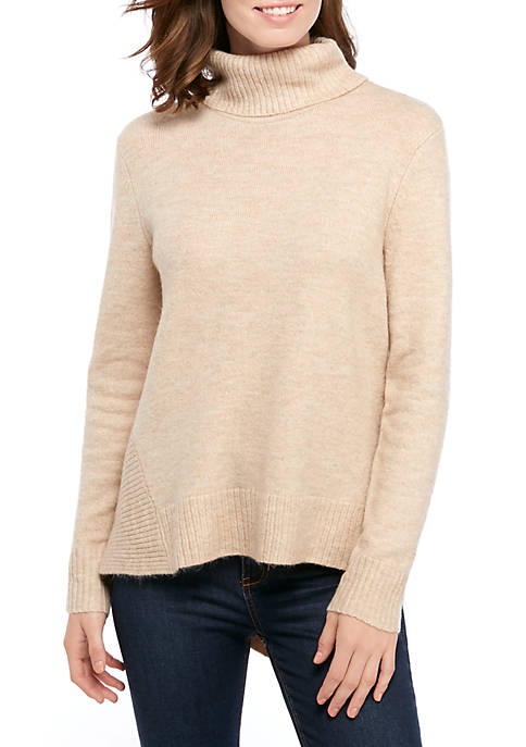 Womens Asymmetrical Mock Neck Sweater