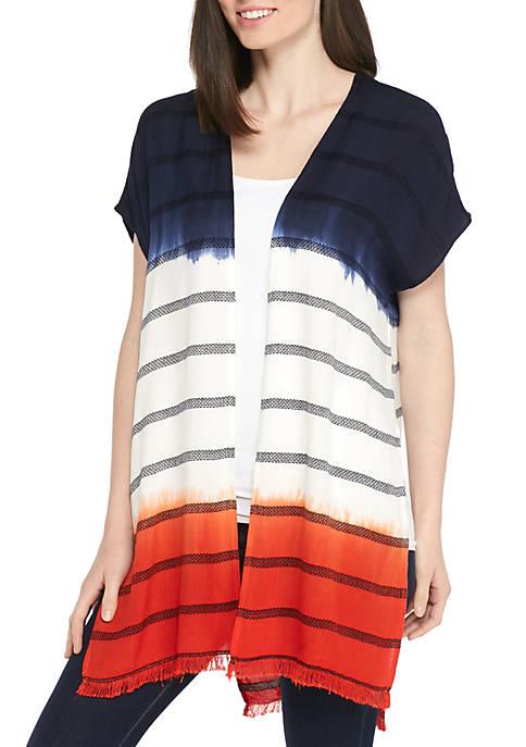 Ombre Hem Stripe Cardigan