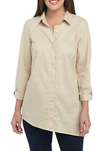 Lace-Up Button Front Shirt