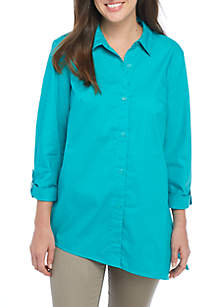 Lace-Up Button Front Shirt