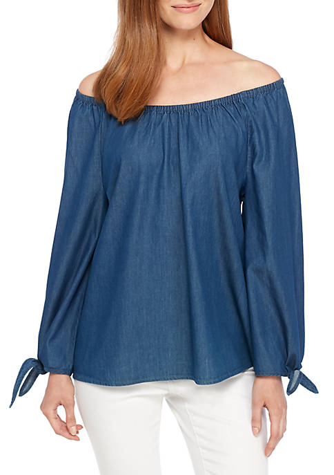 New Directions® Smocked Neck Tie Sleeve Top