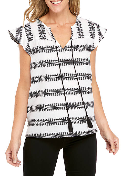 New Directions® Flutter Sleeve Split Neck Top