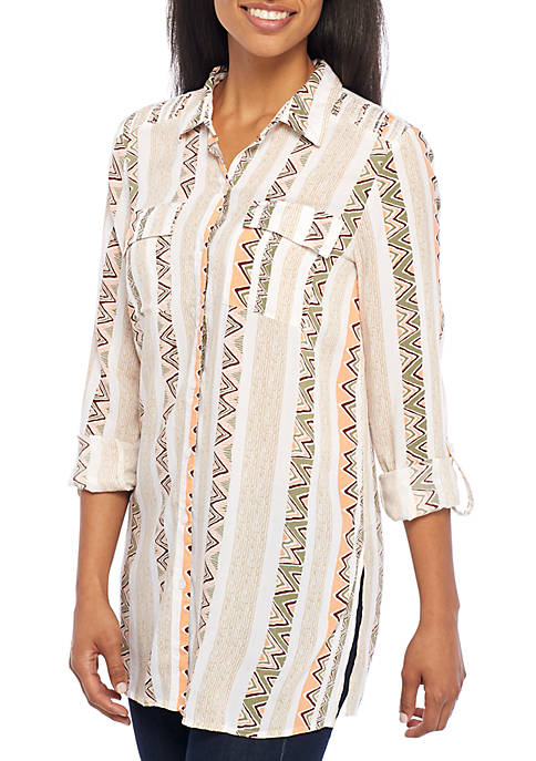 New Directions® Button Front Camp Shirt