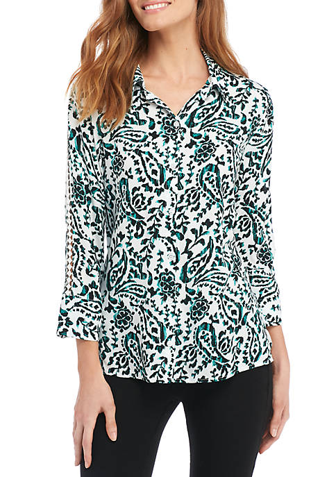 New Directions® High Low Button Front Shirt
