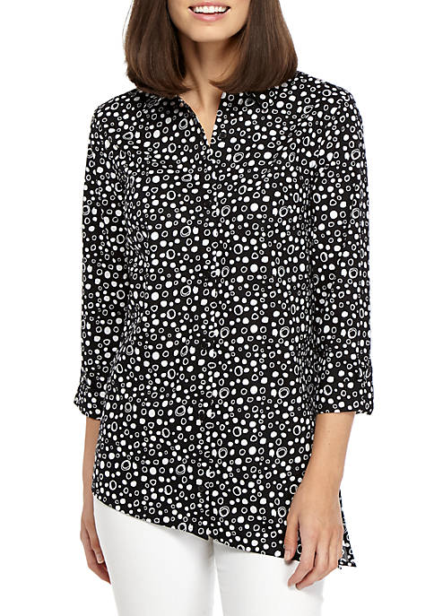 New Directions® Printed Button-Up Shirt