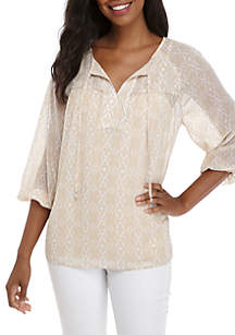 Pieced Blouson Sleeve Peasant Top