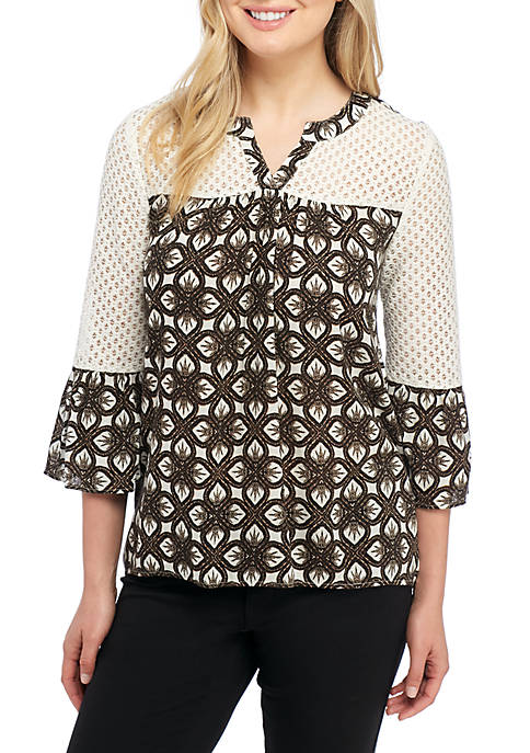 New Directions® Bell Sleeve Lace Top