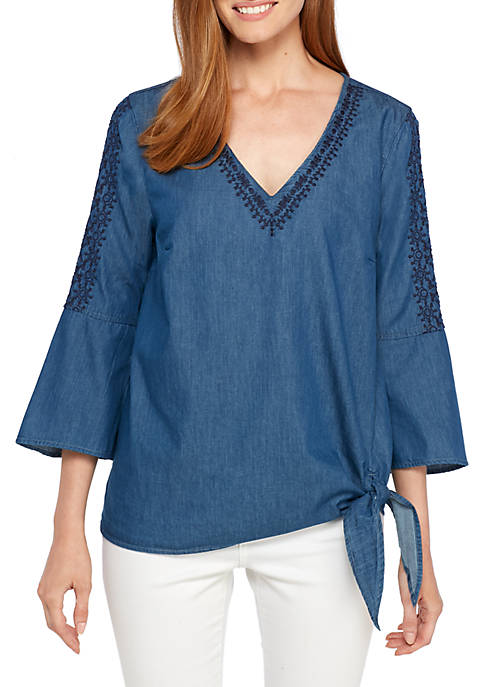 New Directions® Asymmetric Hem Embroidered V-Neck Top