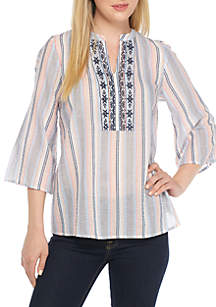 Embroidered Stripe Peasant Top