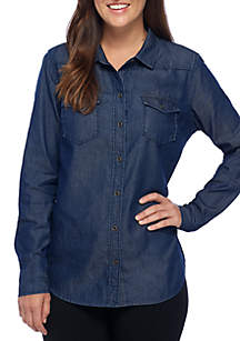 Chambray Roll-Sleeve Button-Up Top