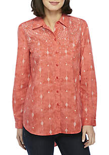 High Low Easy Button-Up Top