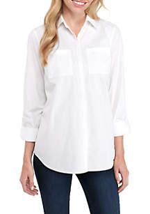 Hidden Placket Button-Up Shirt