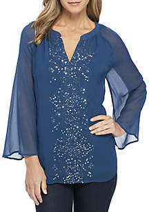 Three-Quarter Sleeve Top with Sequins