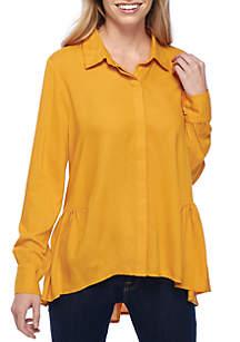 Shirred Waist High Low Button-Down Shirt