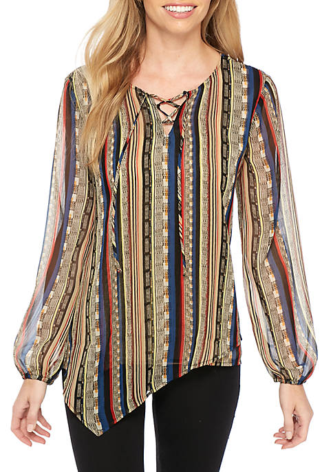 New Directions® Long Sleeve Printed Hem Lace-Up Tunic