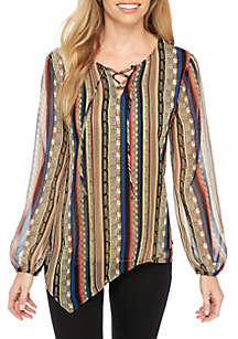 Long Sleeve Printed Hem Lace-Up Tunic