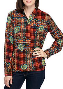 Shirred Waist High Low Button Down Shirt