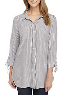 Printed Cinched Sleeve Top