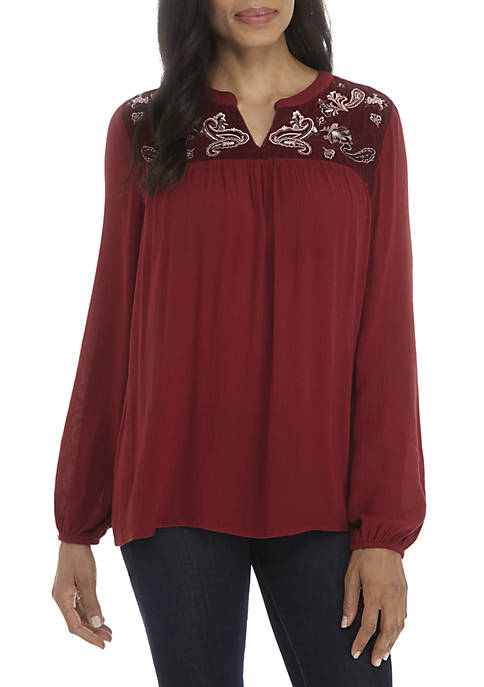 Embroidered Velvet Yoke Top
