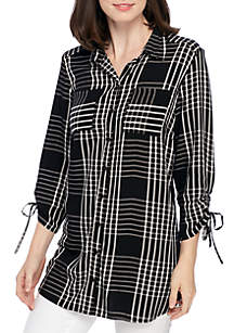 Printed Cinched Sleeve Button-Down Shirt