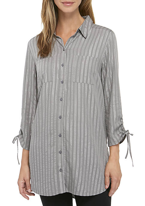 Cinched Sleeve Button Down Tunic