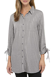 New Directions® Cinched Sleeve Button Down Tunic