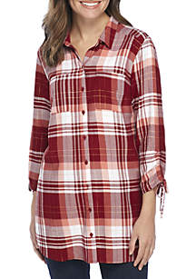 New Directions® Cinched Sleeve Button Down Shirt