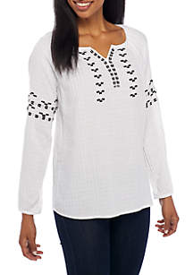 Embroidery Notch Peasant Neckline Long Sleeve Top