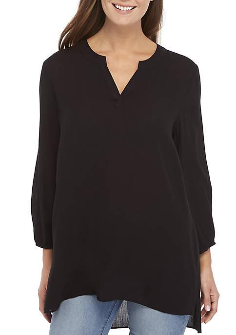 3/4 Sleeve High Low Hem Tunic