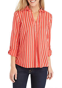 New Directions® Roll-Tab Striped Popover Top