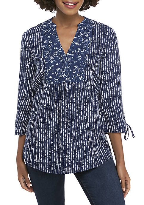 3/4 Lace Up Sleeve Print Top