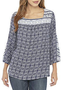 New Directions® 3/4 Flare Sleeve Square Neck Print Top