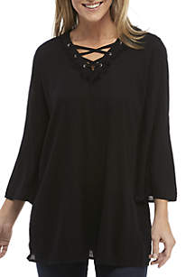 Long Sleeve Lace-Up High Low Tunic