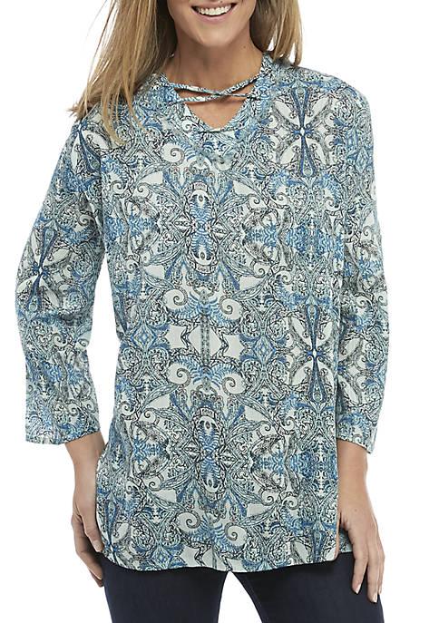 Long Sleeve Lace-Up Split Hem Tunic