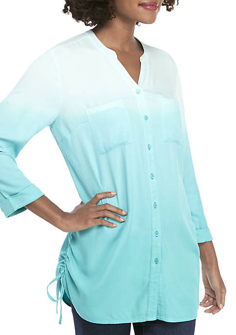 New Directions® 3/4 Roll-Tab Sleeve Side Cinch Tunic