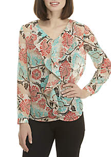 New Directions® Long Sleeve Ruffle Front Top