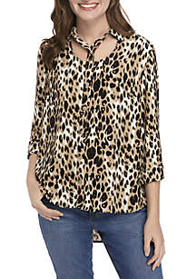 New Directions® Leopard Print Button Down