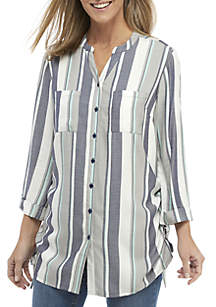 New Directions® 3/4 Sleeve Side Cinch Tunic Top