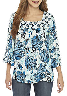 New Directions® 3/4 Sleeve Square Neck Mix Print Top