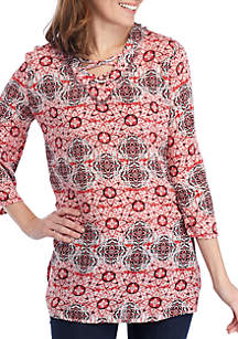 New Directions® Long Sleeve Lace-Up High Low Tunic