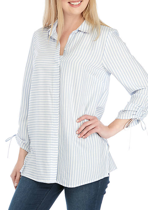 Cinched Sleeve Button Down Top