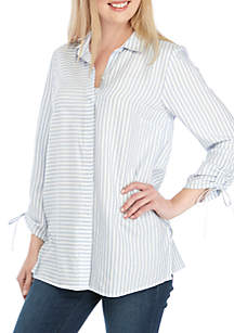 New Directions® Cinched Sleeve Button Down Top