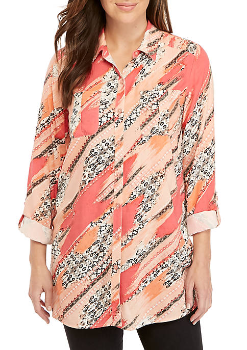 New Directions® Long Roll-Tab Sleeve Collar Print Top