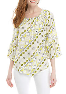 New Directions® Keyhole Woven Peasant Top