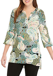 New Directions® Essential 3/4 Sleeve High Low Printed Tunic
