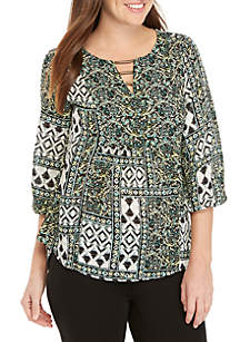 New Directions® 3/4 Sleeve Hardware Neck Print Top