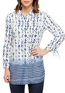 New Directions® Cinch Sleeve Button Down Top